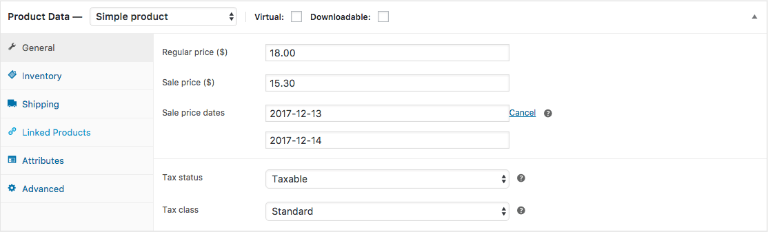 Woocommerce Scheduled Sale Example