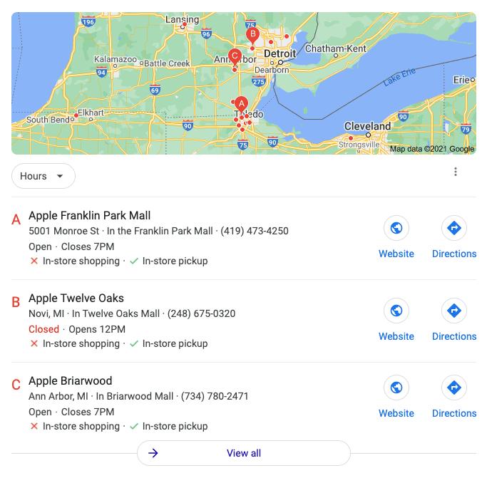 Google Local Search Screenshot
